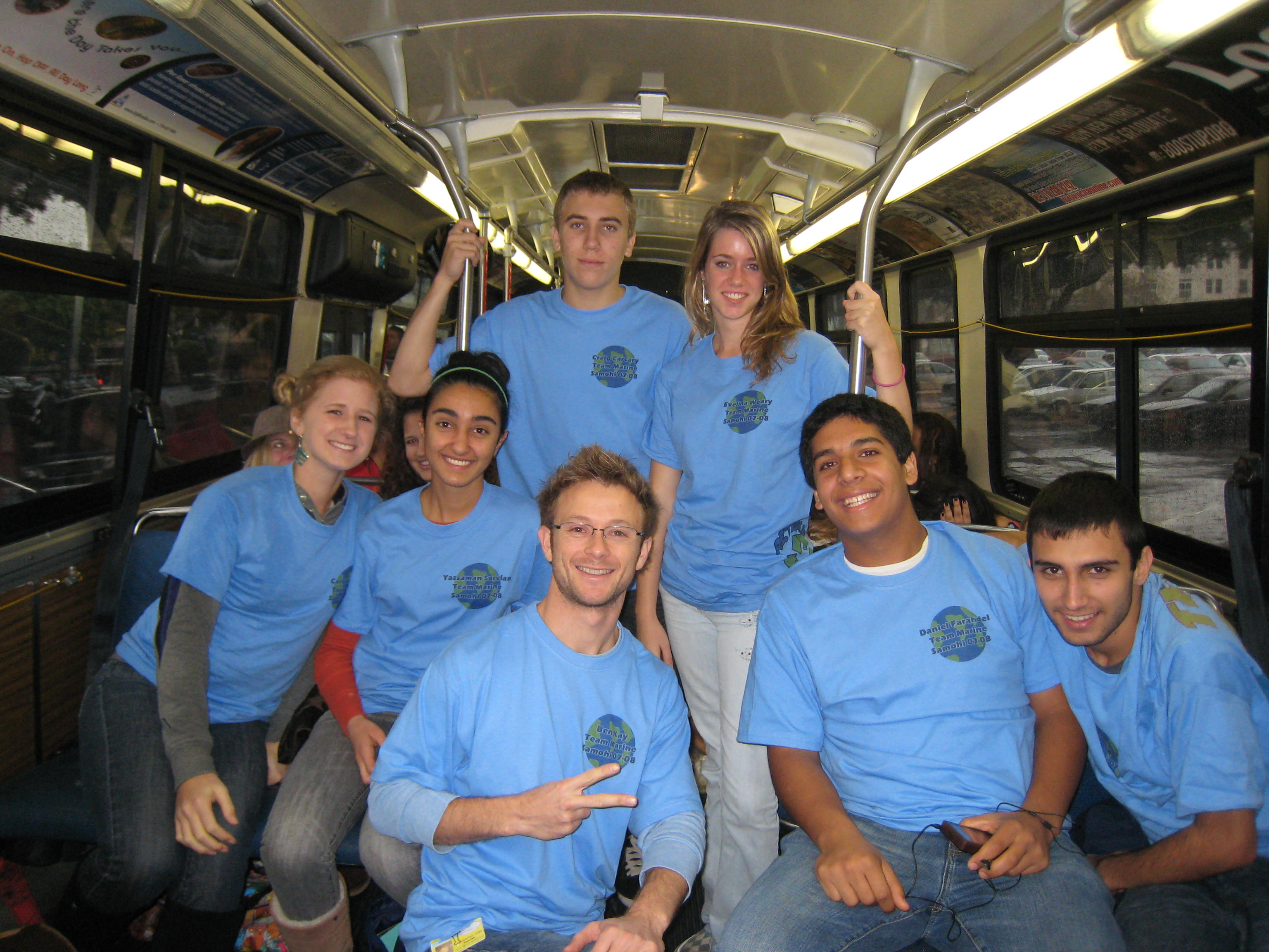 Team Marine from left to right: Caroline Knab, Yassaman Sarvian, Craig Carcary, Benjamin Kay (marine biology teacher, coach of Team Marine and Heal the Bay Club advisor at Samohi), Evelina Weary, Daniel Farahdel, and Daniel Hakhamzadeh
