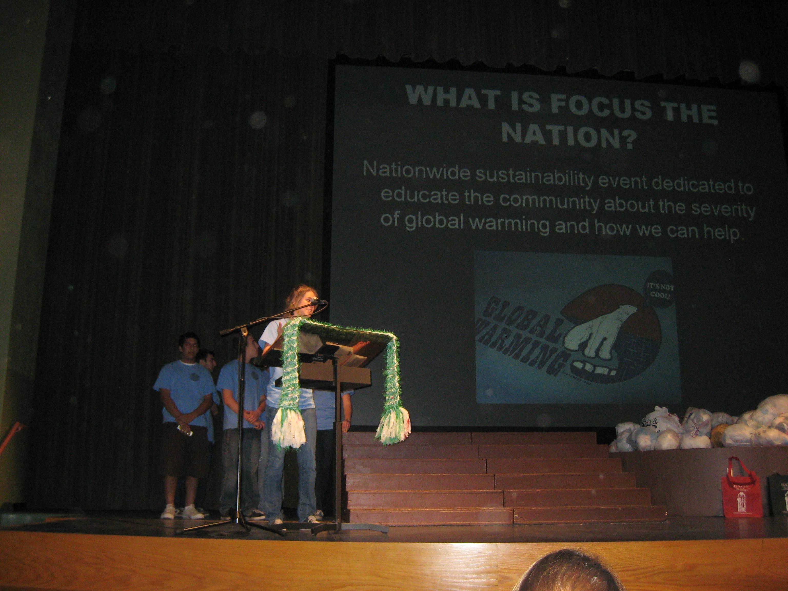Team Marine opening Focus the Nation Presentation