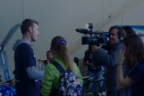 Jacob being interviewed by The Green Observers